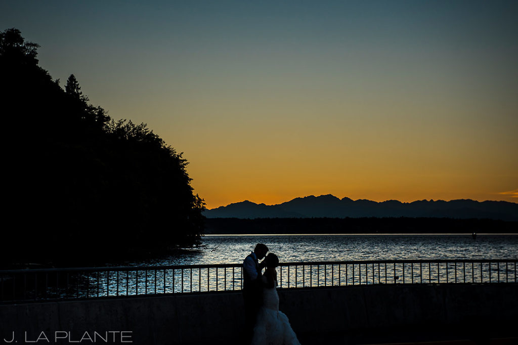 sunset portrait of bride and groom on vashon island
