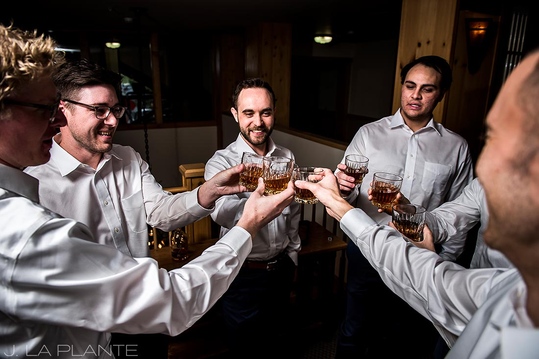 Fall Copper Mountain Wedding | Groomsmen drinking whiskey | Colorado Destination Wedding Photographer | J La Plante Photo