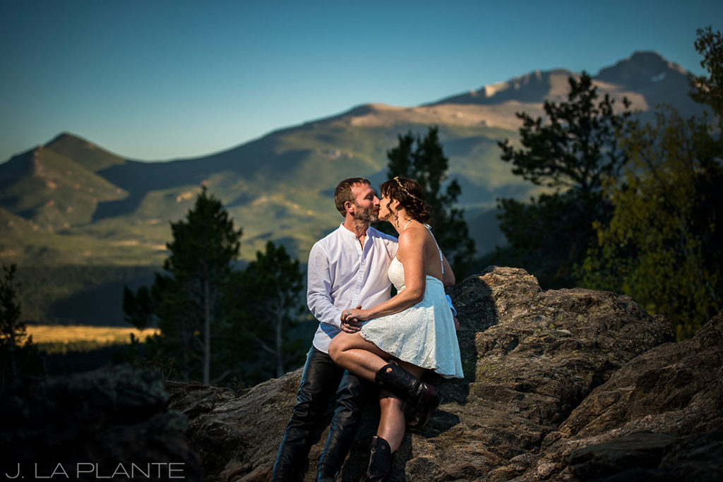 cool wedding photo of bride and groom in the mountains