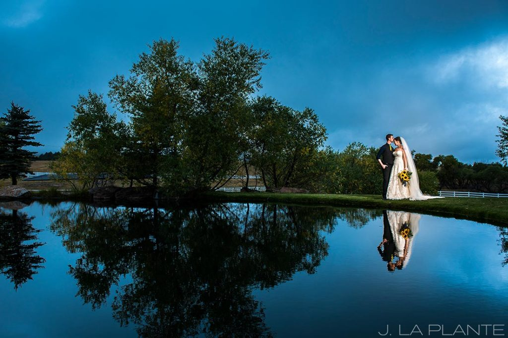 Crooked Willow Farms Wedding | Bride and groom by pond | Colorado Wedding Photographer | J La Plante Photo
