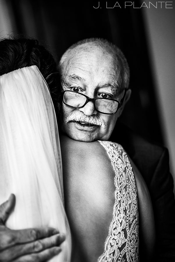 Fall Vail Wedding | First look with father of the bride | Vail Wedding Photographer | J La Plante Photo