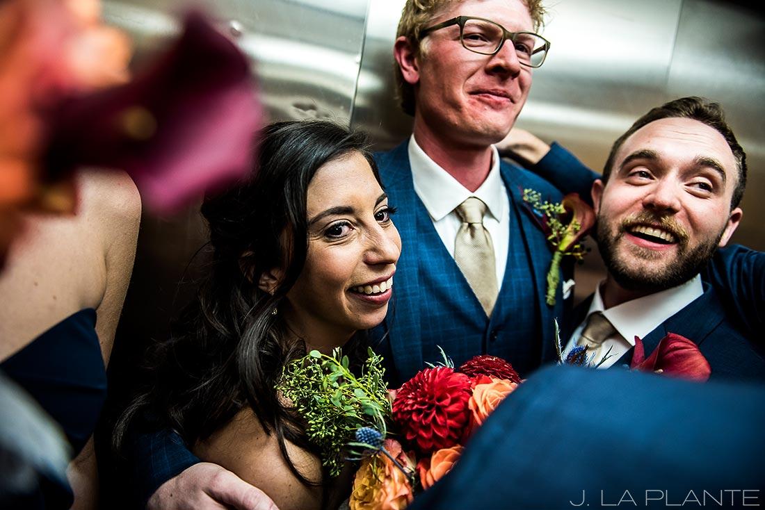 Fall Copper Mountain Wedding | Bride and groom in elevator | Colorado Destination Wedding Photographer | J La Plante Photo