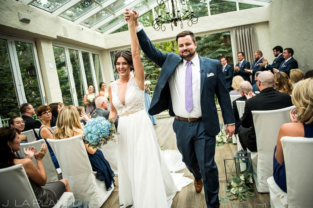 Fall Vail Wedding | Bride and groom recessing | Vail Wedding Photographer | J La Plante Photo