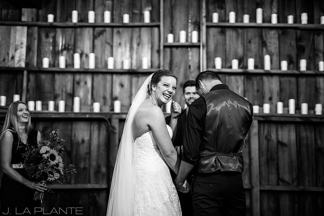 Crooked Willow Farms Wedding | Bride laughing during ceremony | Colorado Wedding Photographer | J La Plante Photo