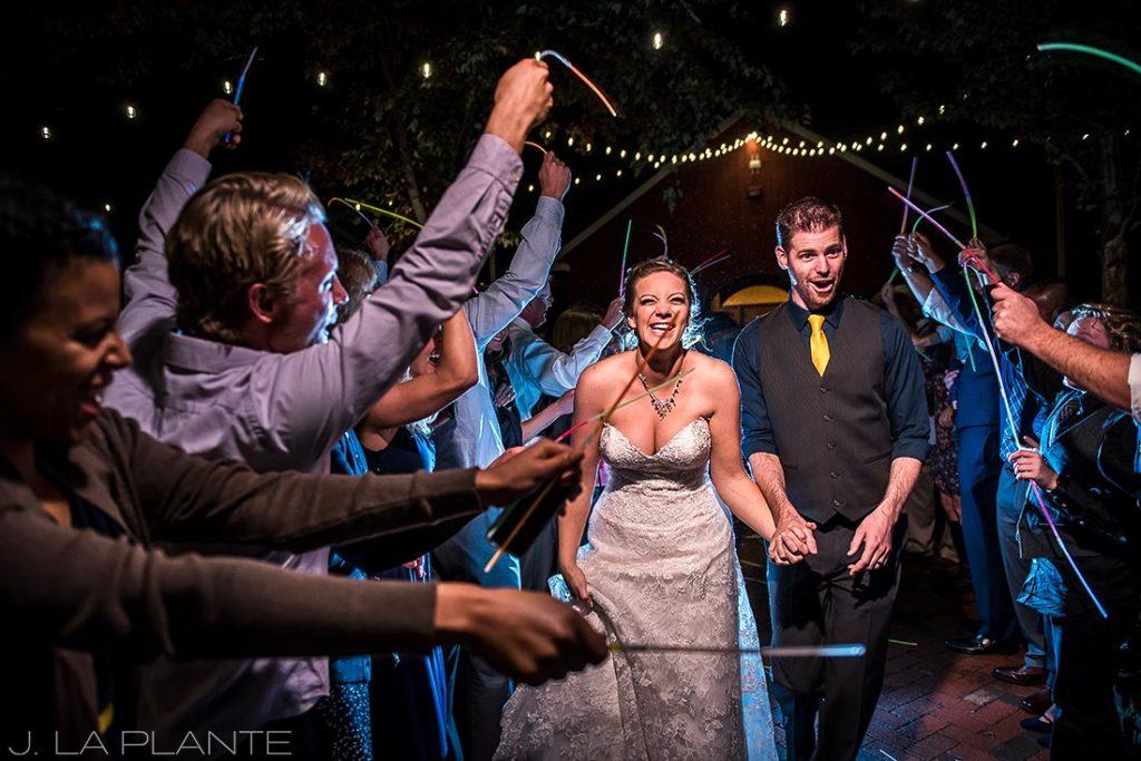 Crooked Willow Farms Wedding   Lightstick sendoff   Colorado Wedding Photographer   J La Plante Photo