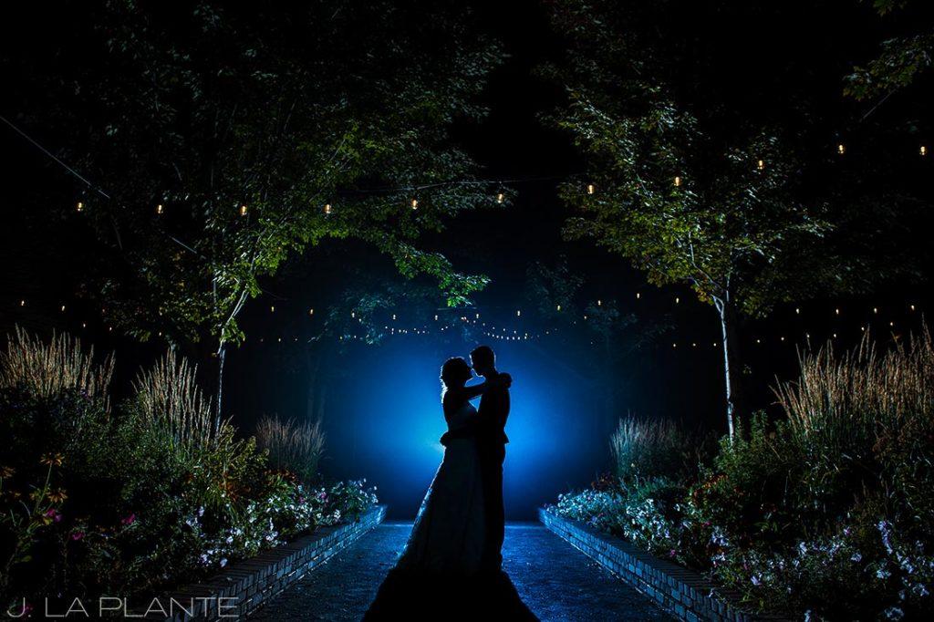 Crooked Willow Farms Wedding   Nighttime portrait of bride and groom   Colorado Wedding Photographer   J La Plante Photo