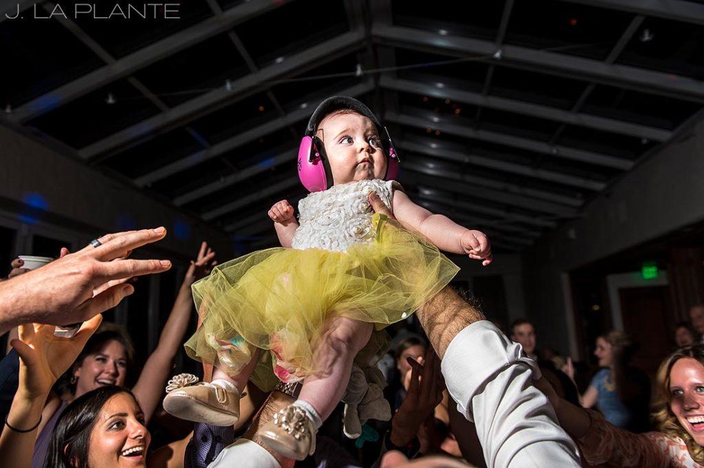 baby on the dance floor with headphones