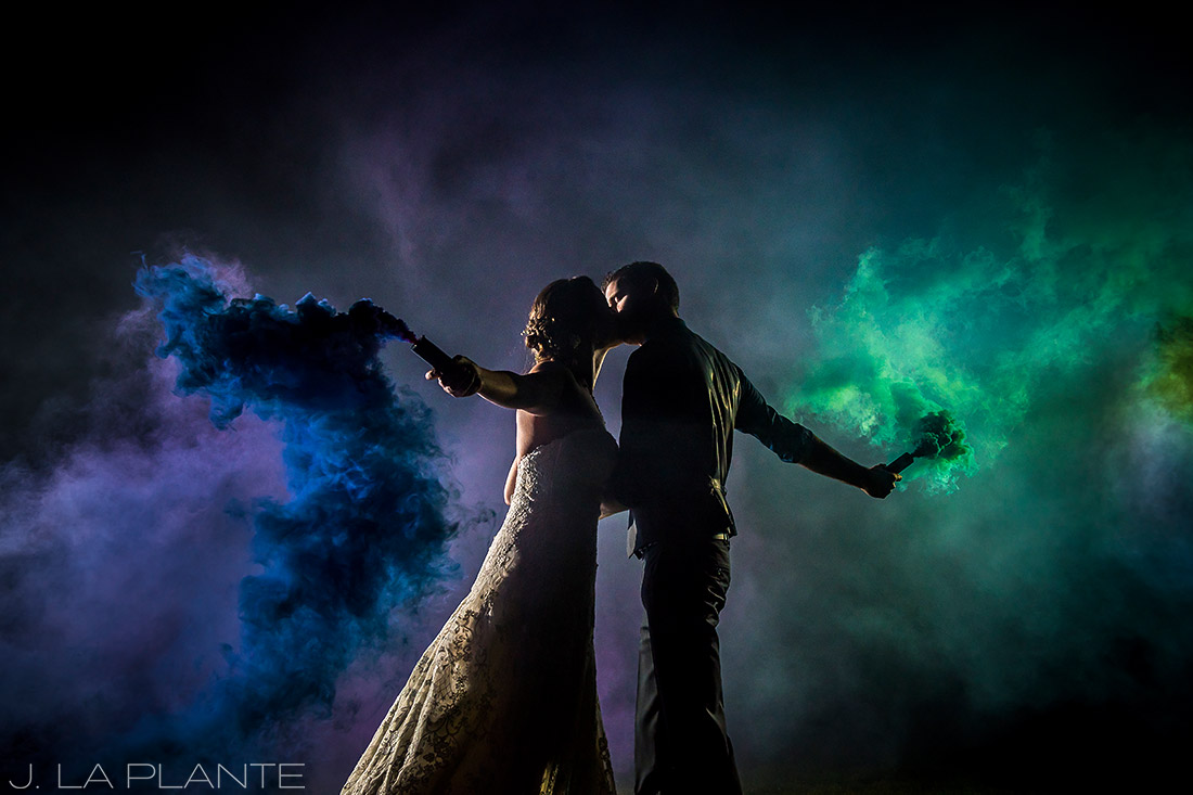 Crooked Willow Farms Wedding | Nighttime portrait with smoke | Colorado Wedding Photographer | J La Plante Photo