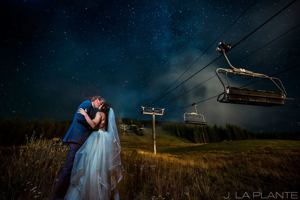 Fall Copper Mountain Wedding | Bride and groom under stars and chairlift | Colorado Destination Wedding Photographer | J La Plante Photo
