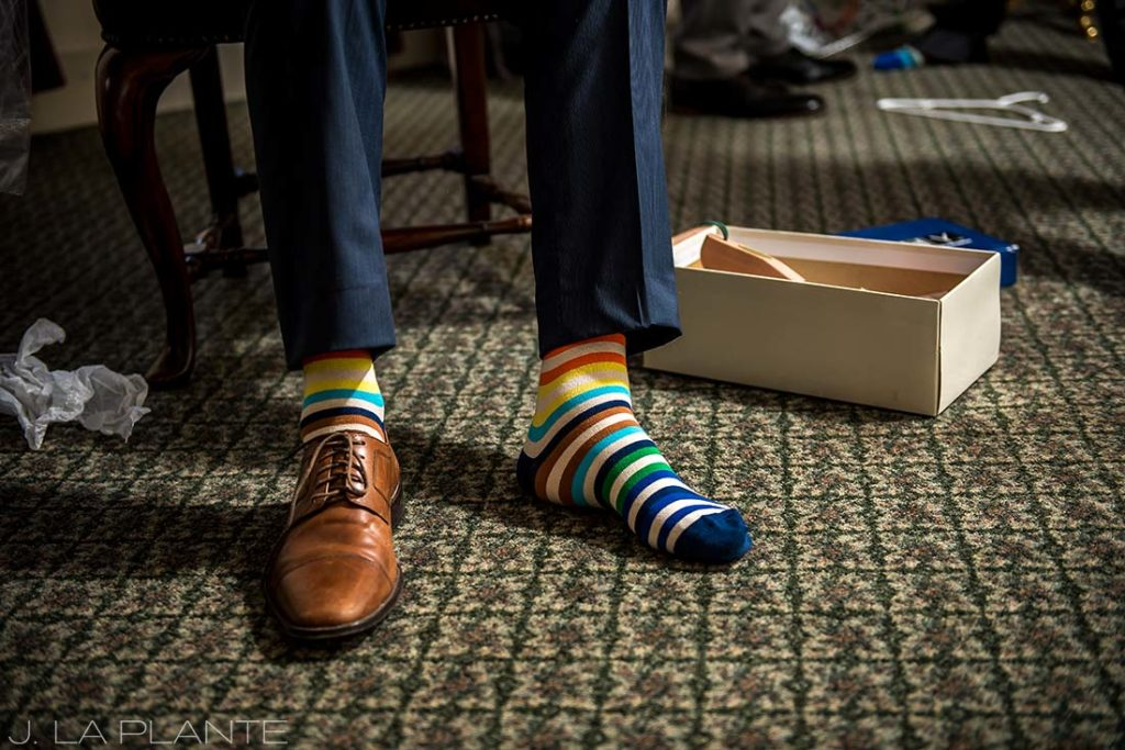 Willow Ridge Manor Wedding | Groom's socks | Denver wedding photographer | J La Plante Photo