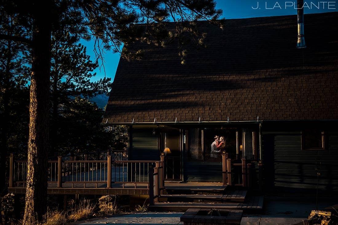 bride and groom in rustic cabin in estes park