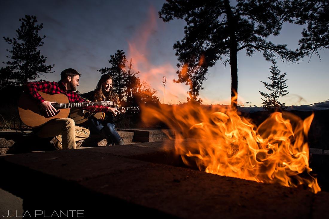 Colorado Mountain Engagement   Bride and groom playing guitar   Colorado engagement photography   J La Plante Photo