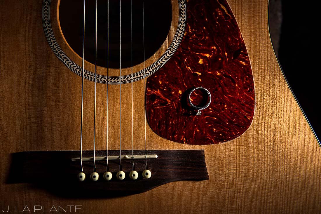 Colorado Mountain Engagement   Engagement ring on guitar   Colorado engagement photography   J La Plante Photo