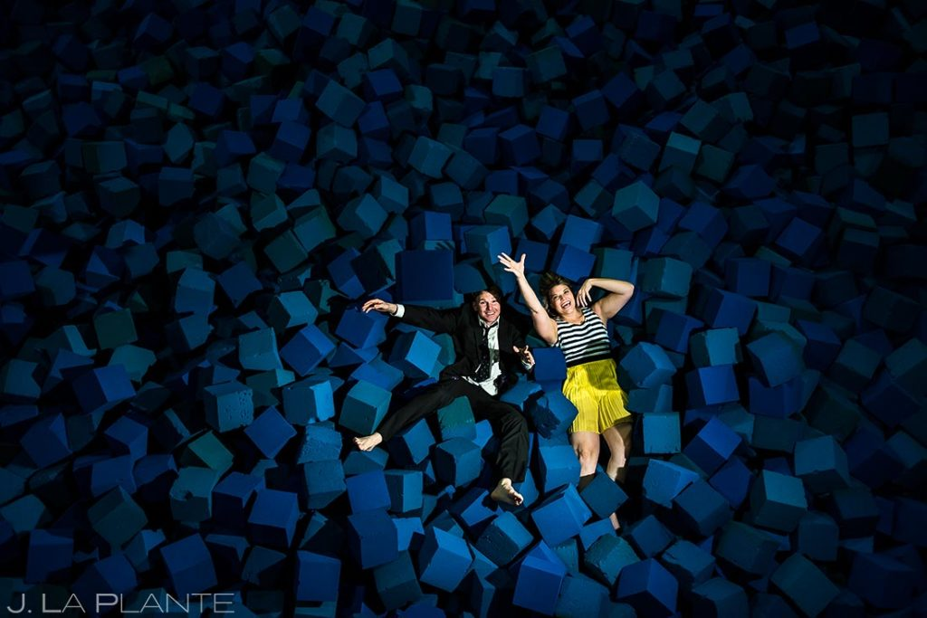 Bride and groom in foam pit