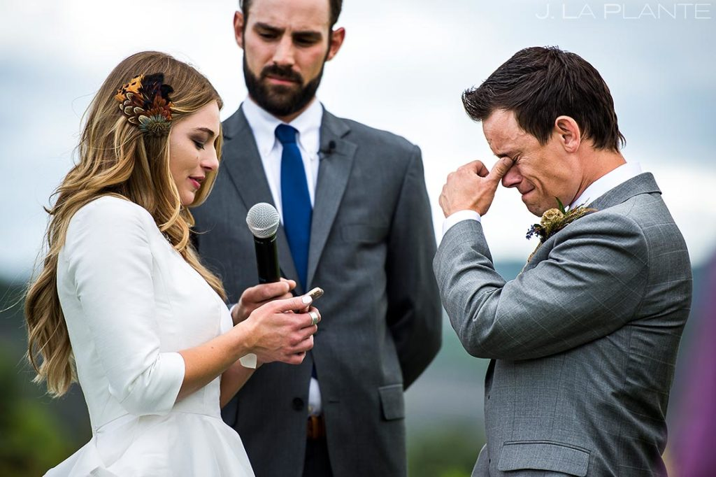 Groom Crying During Vows | Crooked Willow Farms Wedding | Colorado Wedding Photographers | J. La Plante Photo