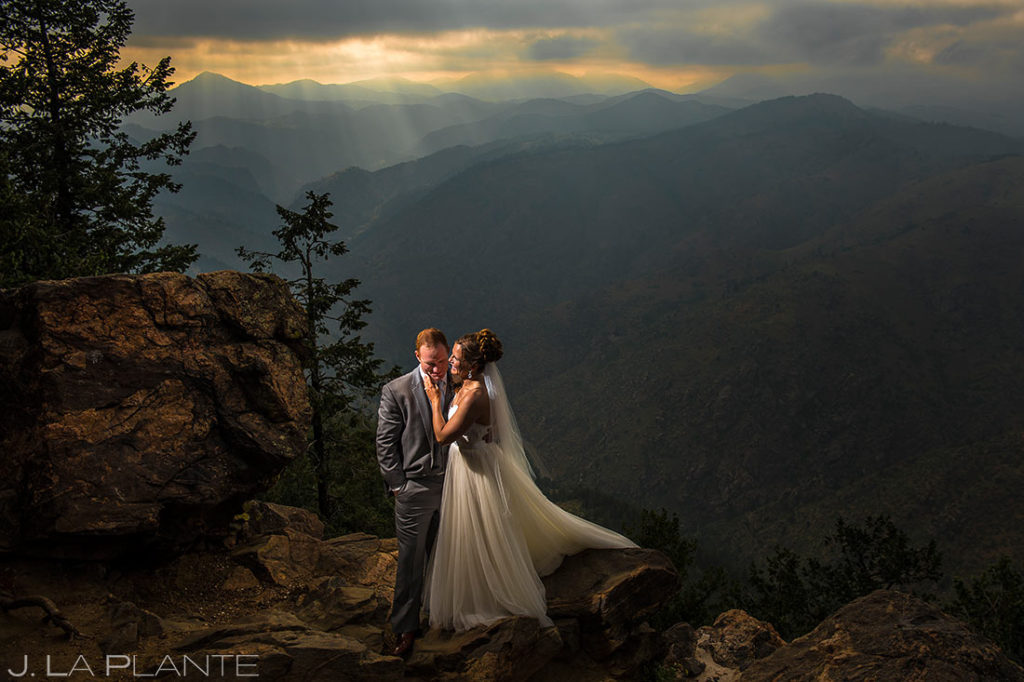 Bride and Groom on Lookout Mountain | Boettcher Mansion Wedding | Denver Wedding Photographers | J. La Plante Photo