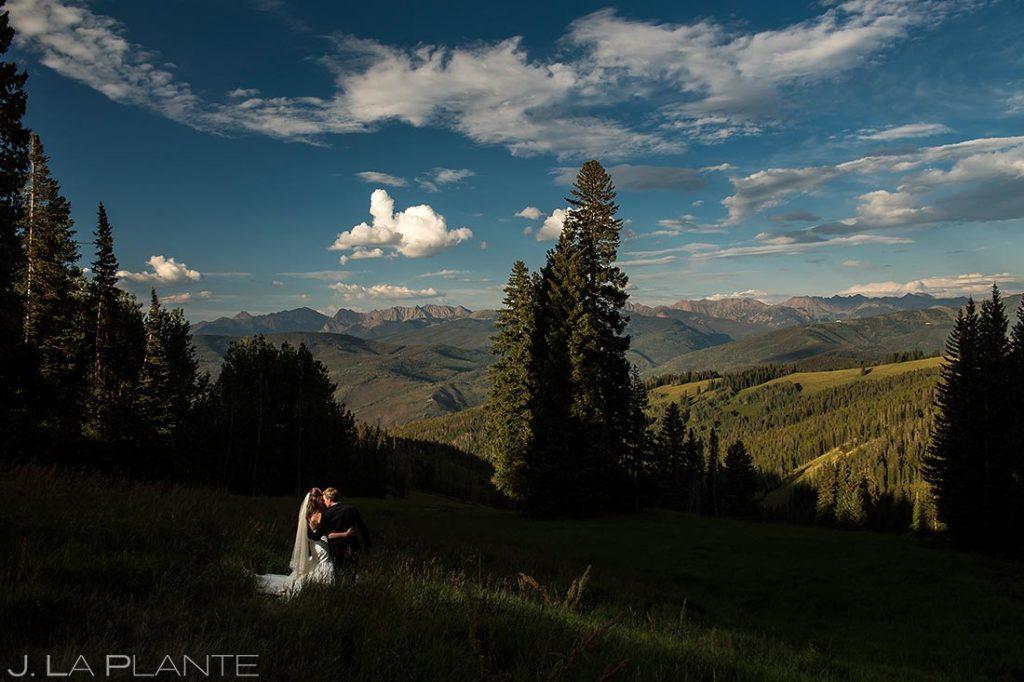 Bride and Groom on Beaver Creek Mountain | Beaver Creek Wedding Deck Wedding | Colorado Wedding Photographers | J. La Plante Photo