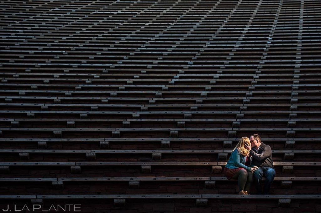 Bride and Groom on Steps at Red Rocks | Red Rocks Engagement | Denver Wedding Photographer | J. La Plante Photo