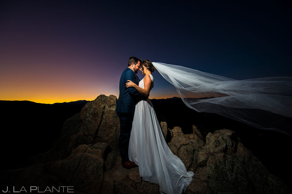 Bride and Groom Sunset Wedding Photo | Rustic Mountain Wedding | Boulder Wedding Photographer | J. La Plante Photo