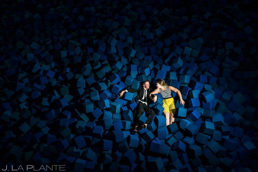 Bride and Groom in Foam Pit | Copper Mountain Engagement | Colorado Wedding Photographer | J. La Plante Photo