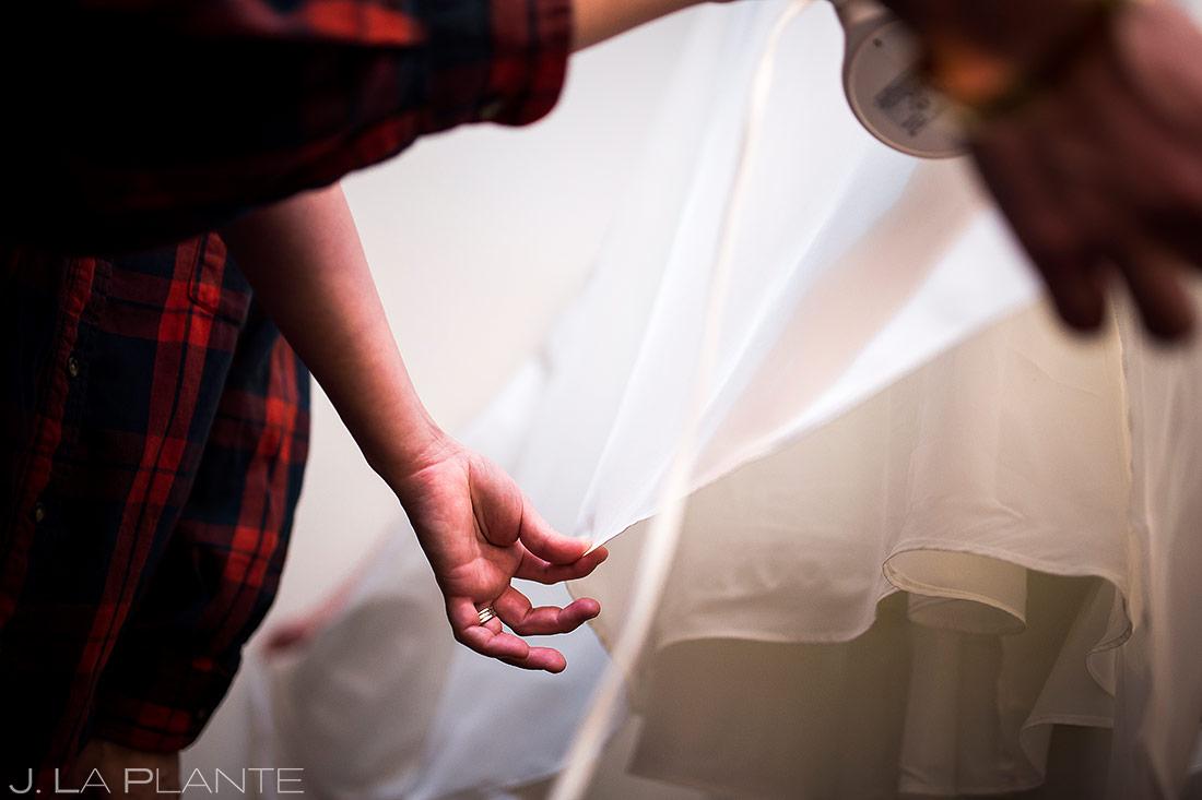 Wedding dress | Black Canyon Inn Winter Wedding | Rocky Mountain Wedding Photographer | J La Plante Photo