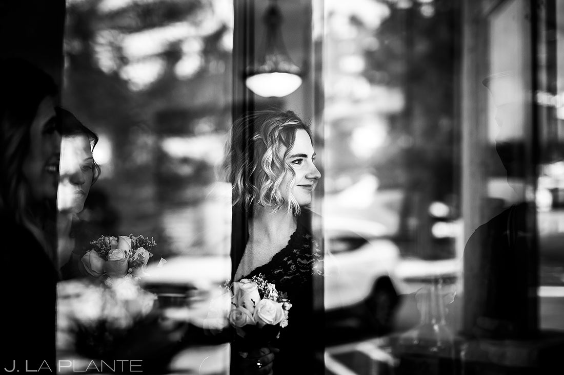 Bridesmaids waiting to walk down the aisle | Black Canyon Inn Winter Wedding | Rocky Mountain Wedding Photographer | J La Plante Photo