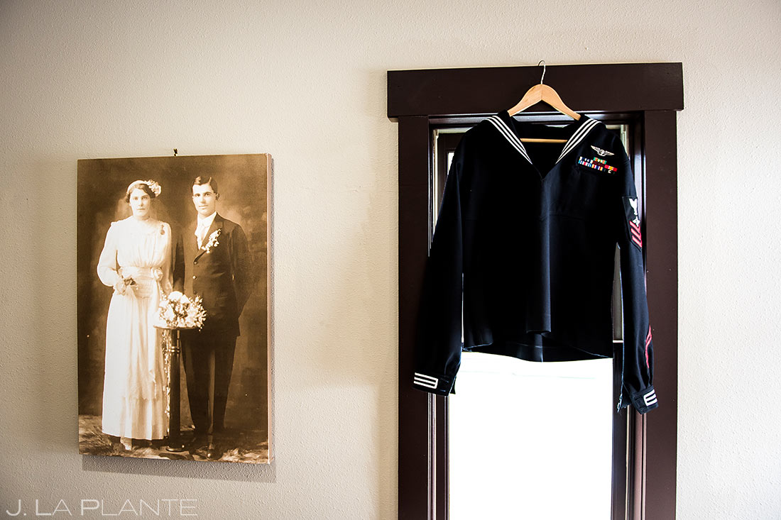 Groom's navy uniform | Black Canyon Inn Winter Wedding | Rocky Mountain Wedding Photographer | J La Plante Photo