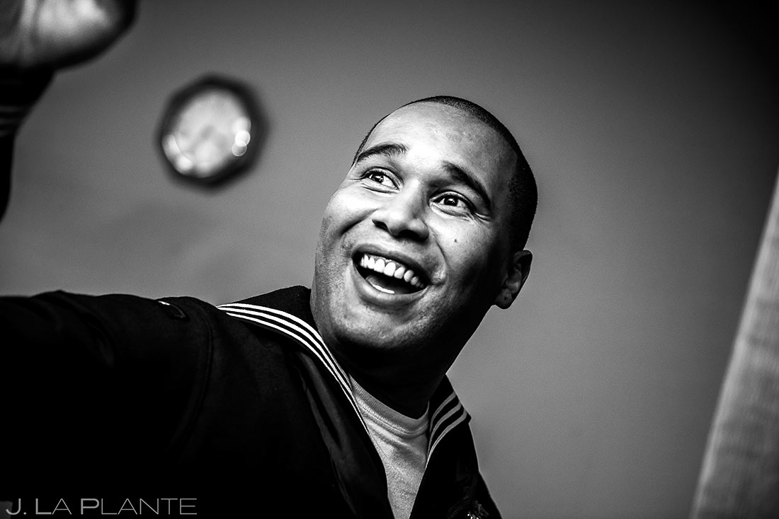 Navy groomsman | Black Canyon Inn Winter Wedding | Rocky Mountain Wedding Photographer | J La Plante Photo