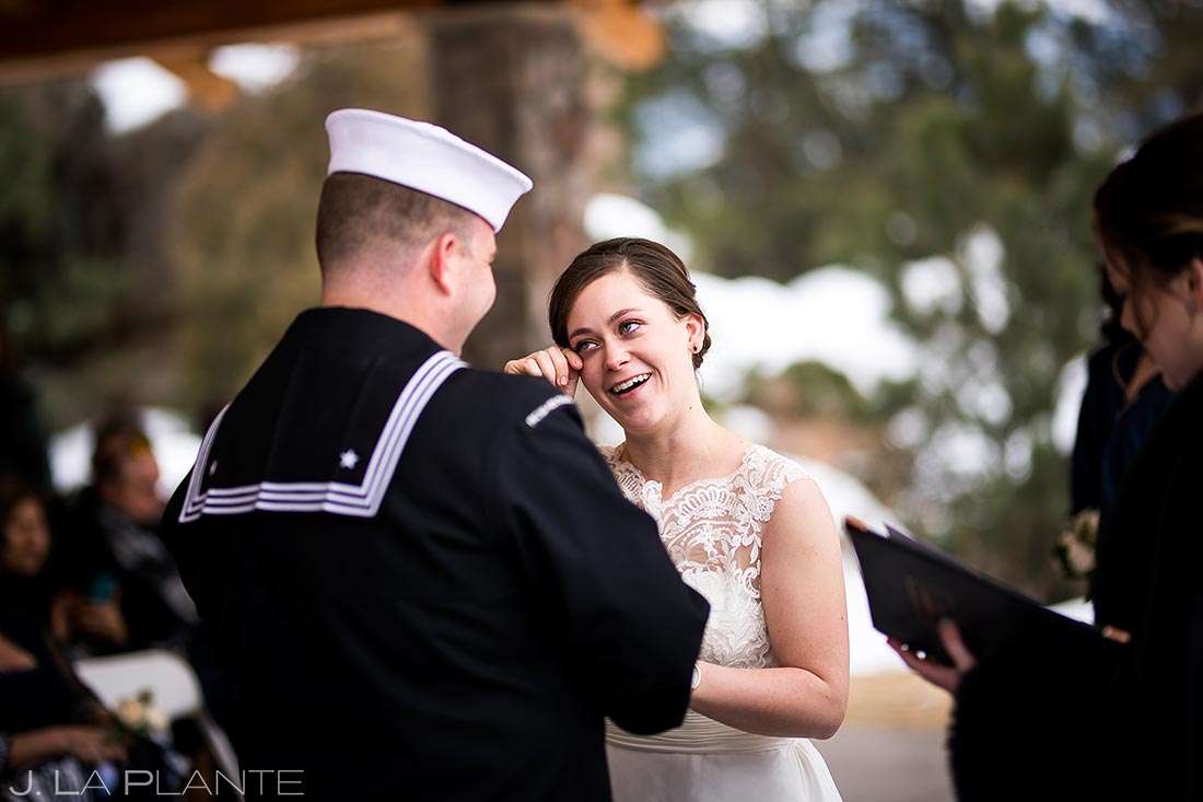 Bride crying at ceremony | Black Canyon Inn Winter Wedding | Rocky Mountain Wedding Photographer | J La Plante Photo