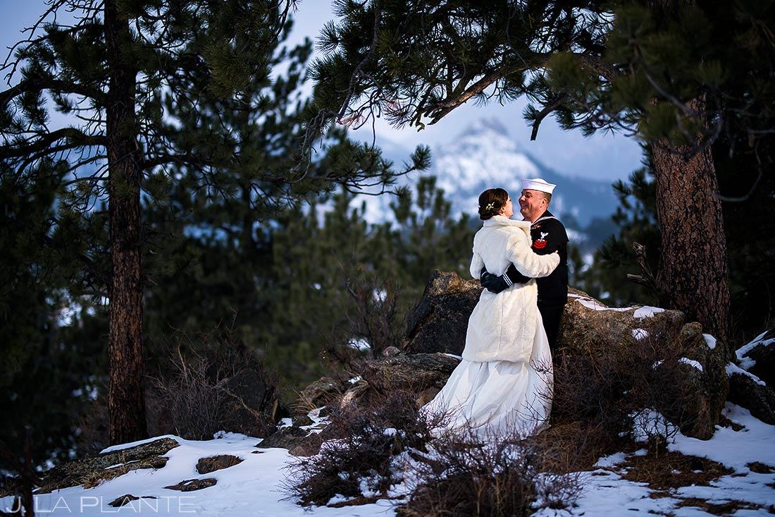 Bride and groom in snow | Estes Park Winter Wedding | Rocky Mountain Wedding Photographer | J La Plante Photo
