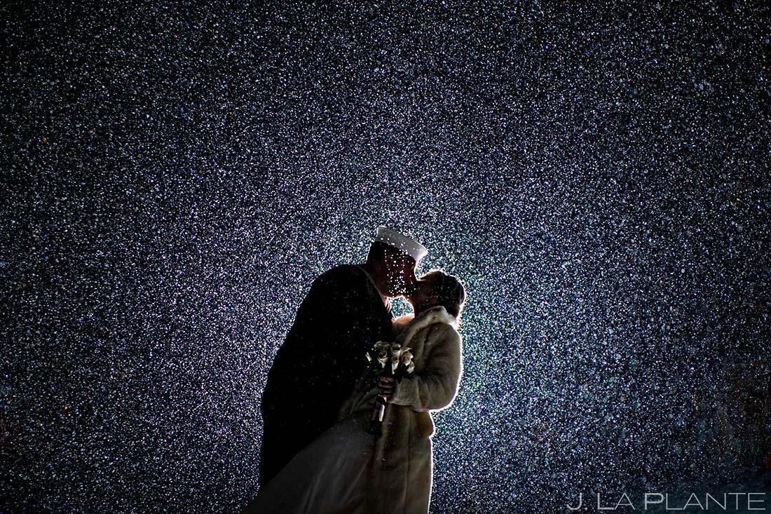 Bride and groom in snow | Estes Park Wedding | Estes Park Wedding Photographer | J La Plante Photo