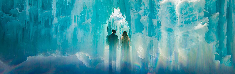 Bride and Groom in Ice Castle   Keystone Ice Castle Engagement   Colorado Wedding Photographer   J. La Plante Photo