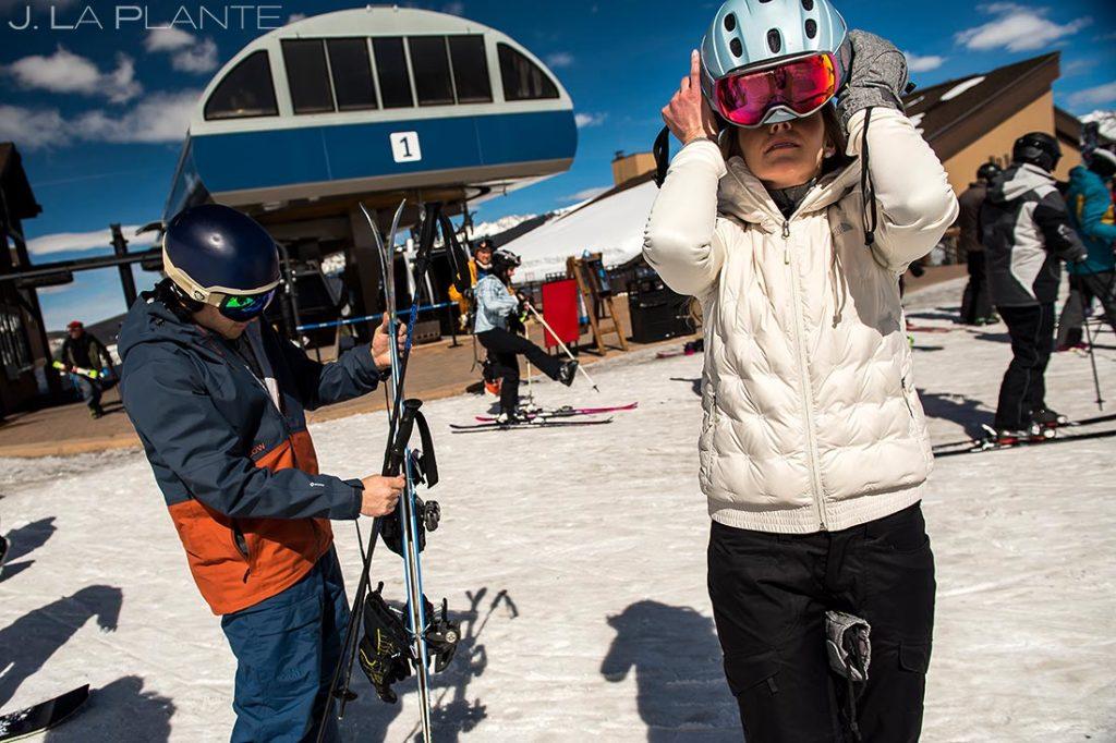 Vail Ski Engagement   Getting ready to ski   Vail wedding photographer   J. La Plante Photo