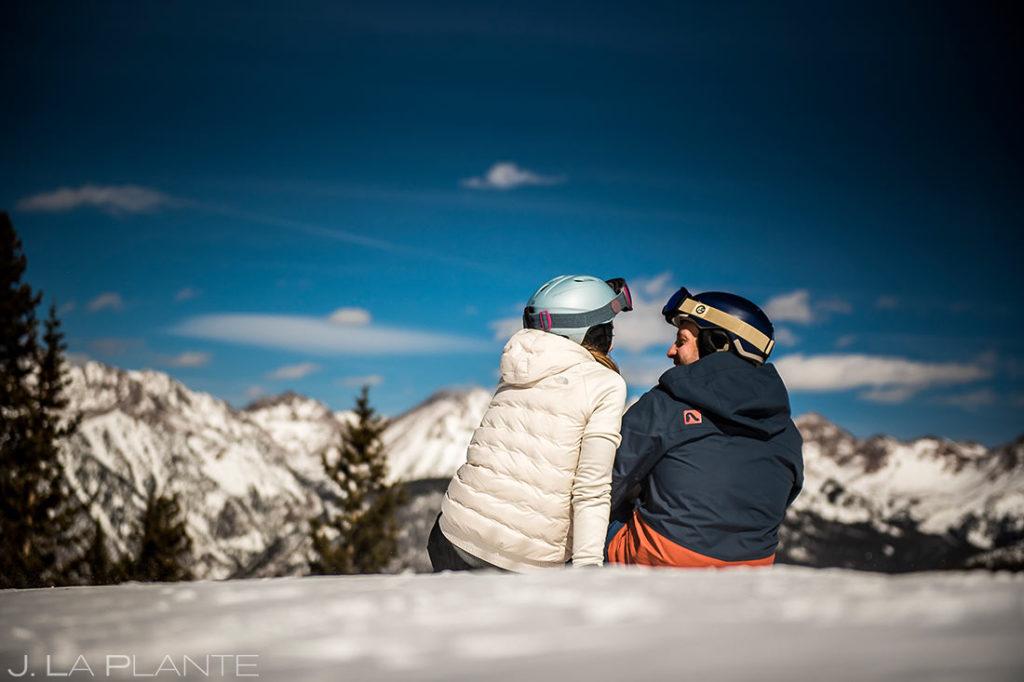 bride and groom taking a ski break in colorado