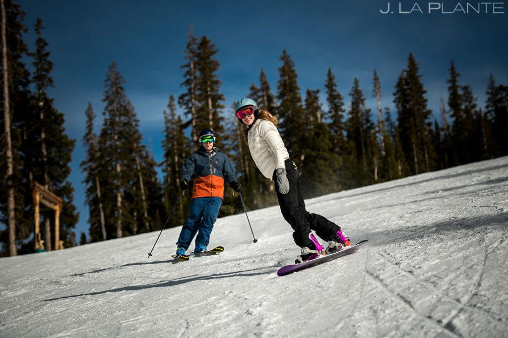 Vail Ski Engagement   Bride and groom skiing   Vail wedding photographer   J. La Plante Photo