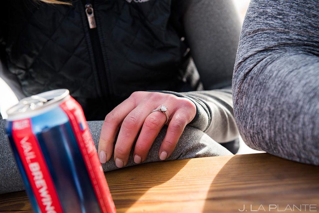Vail Ski Engagement   Engagement ring   Vail wedding photographer   J. La Plante Photo