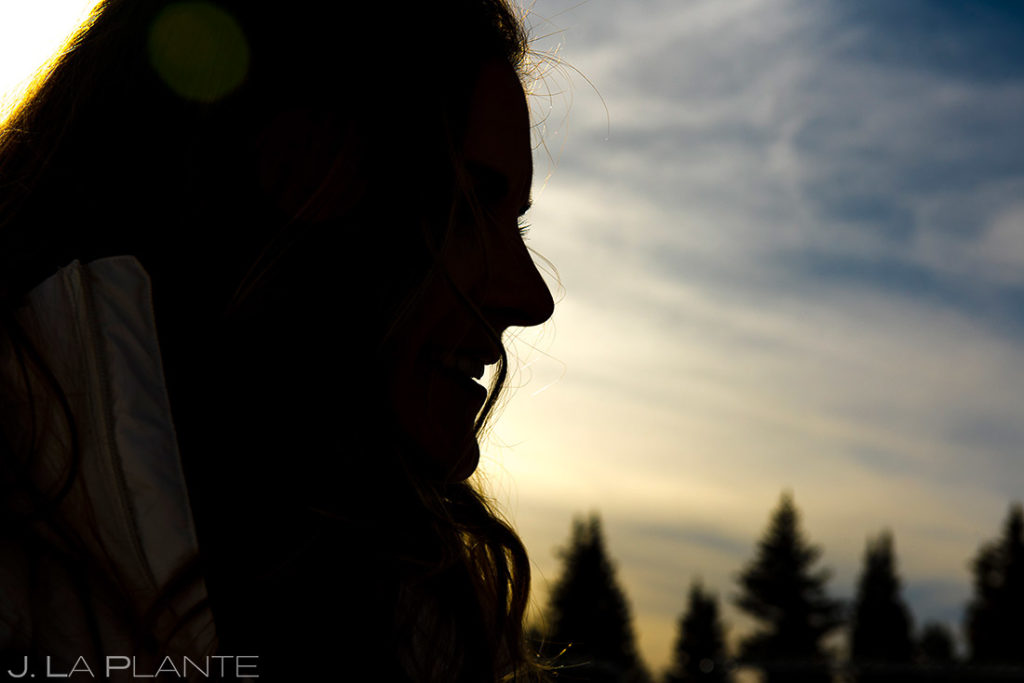 cool silhouette photo of bride to be