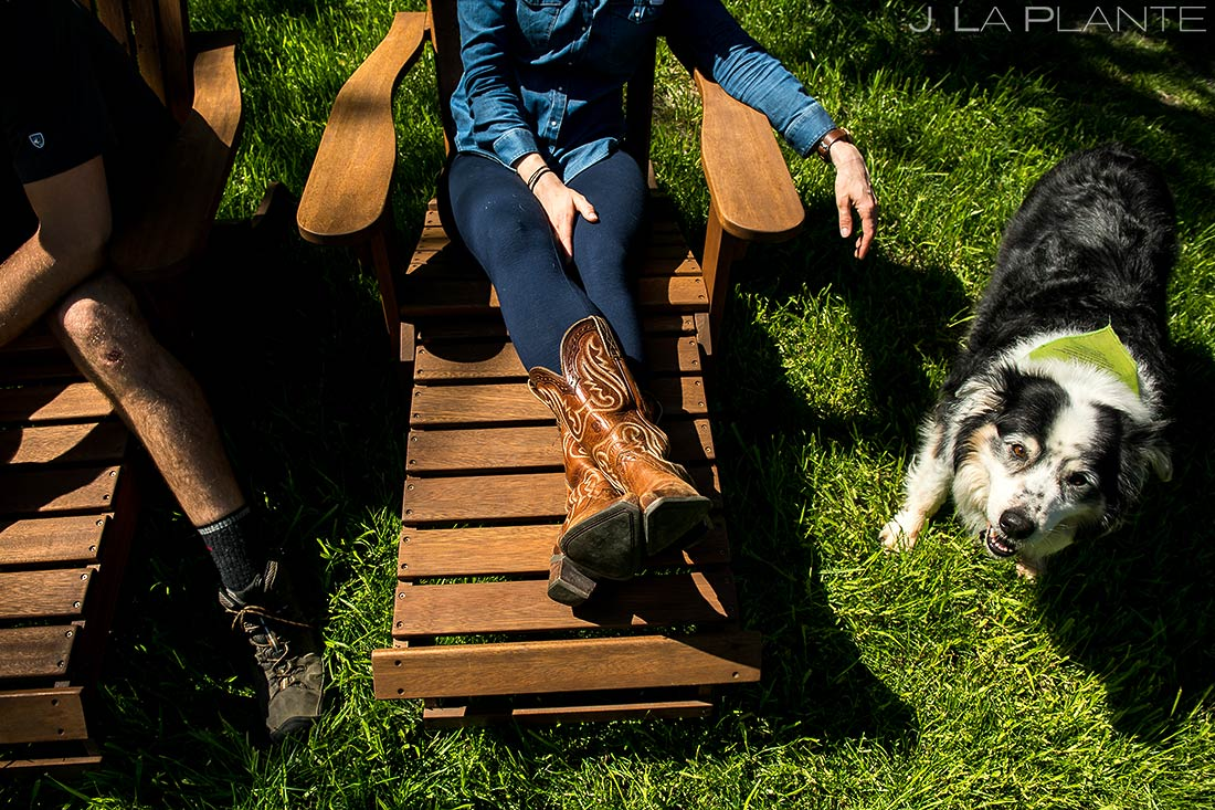 bride hanging out with dog | bay area tiny house lifestyle shoot
