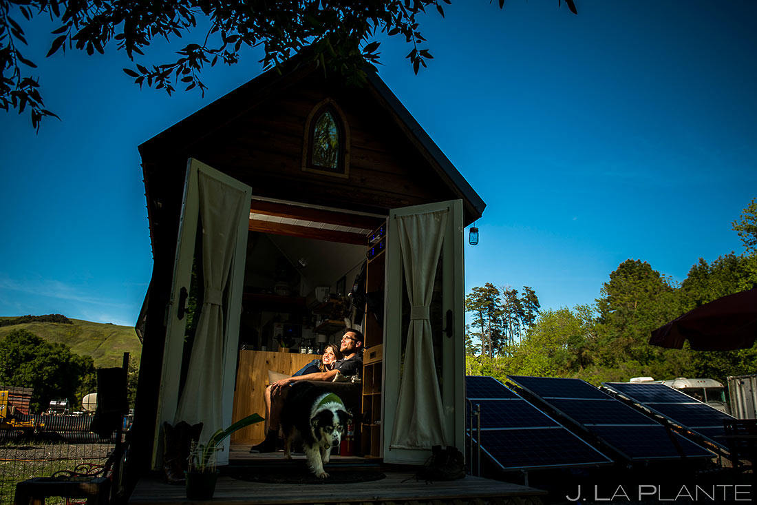 bay area tiny house lifestyle bride and groom hanging out with dog