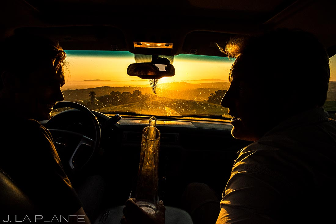 driving up the san francisco hills to watch sunset