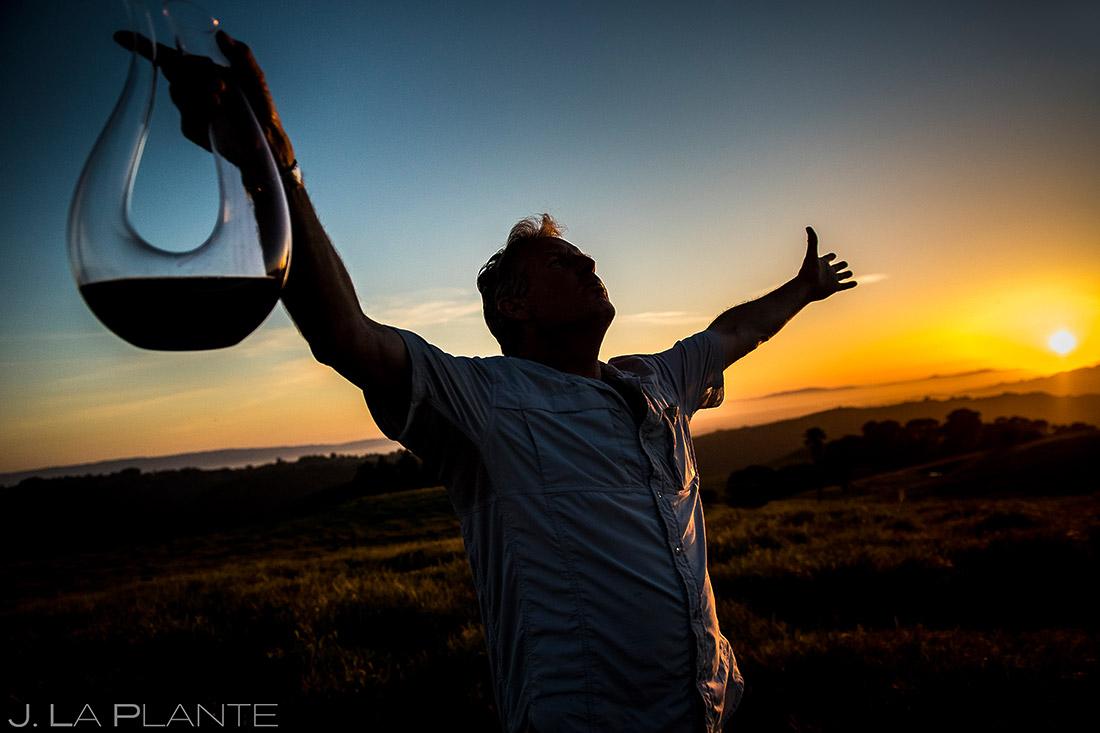drinking wine at sunset overlooking san francisco