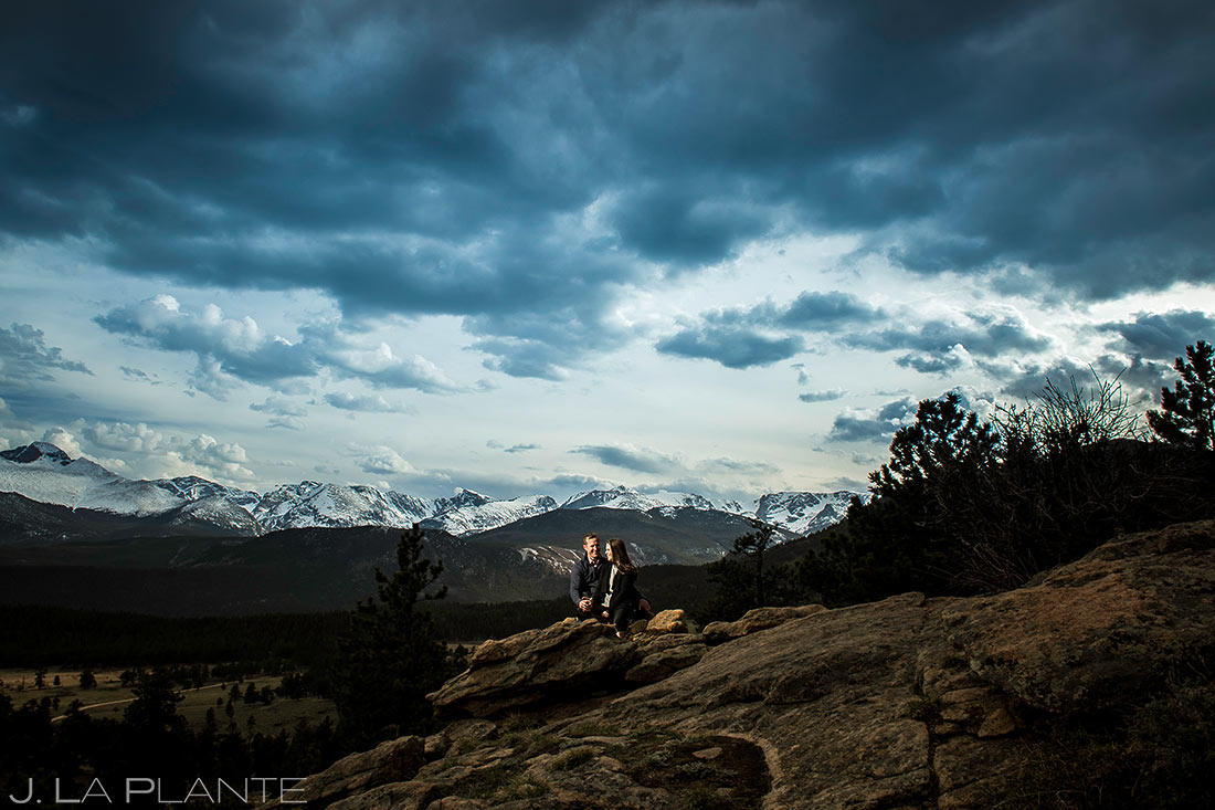 Bride and Groom to be in the Mountains | Estes Park Wedding Photographer | J. La Plante Photo