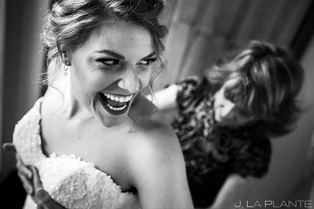 Bride Getting Into Dress   Wedgewood Boulder Creek Wedding   Boulder Wedding Photographer   J. La Plante Photo