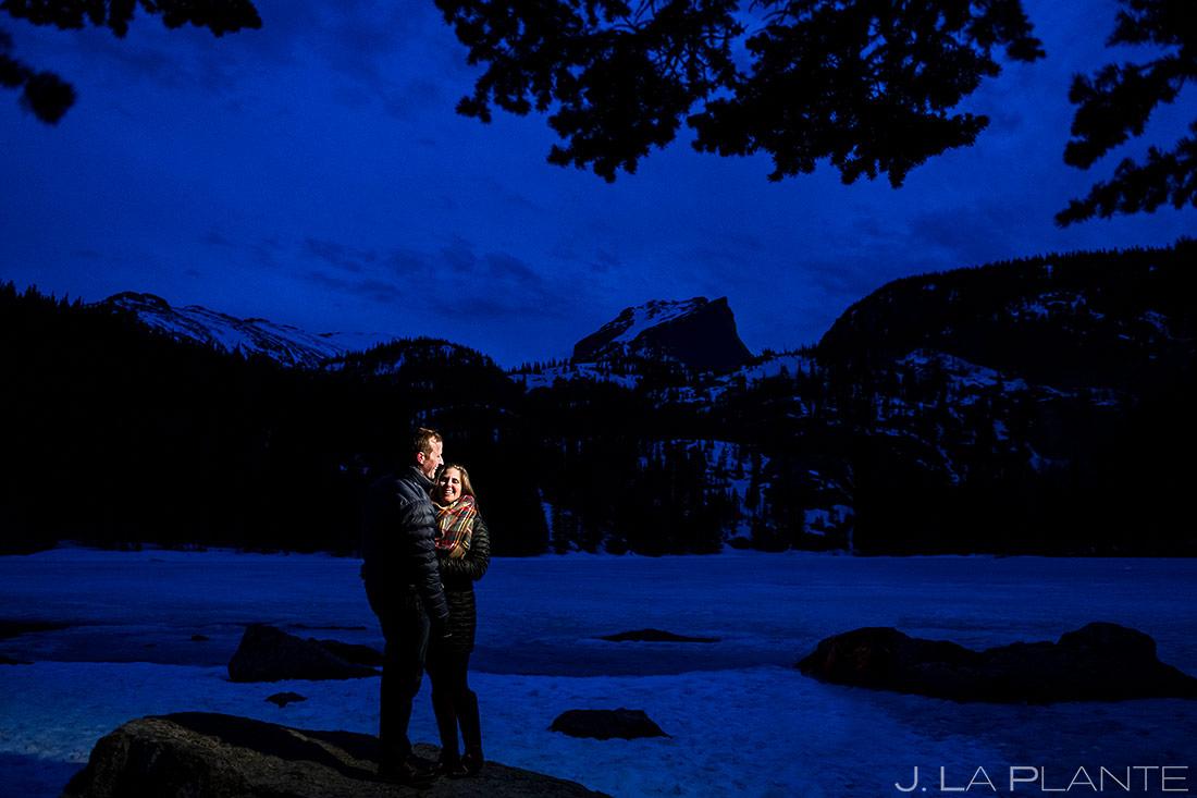 Bride and Groom Hiking Bear Lake | Estes Park Wedding Photographer | J. La Plante Photo
