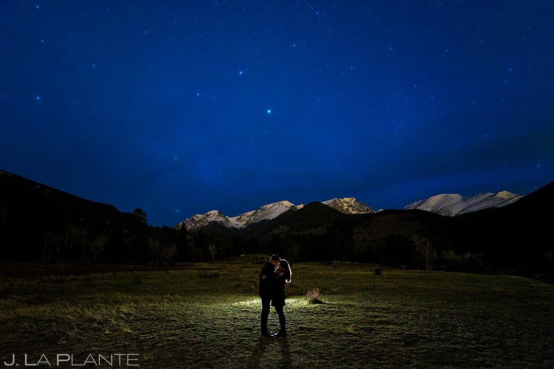 Bride and Groom Under the Stars | Estes Park Wedding Photographer | J. La Plante Photo