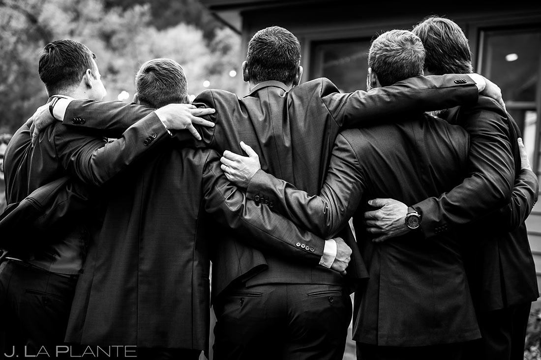 Groomsmen Hugging Each Other   Wedgewood Boulder Creek Wedding   Boulder Wedding Photographer   J. La Plante Photo