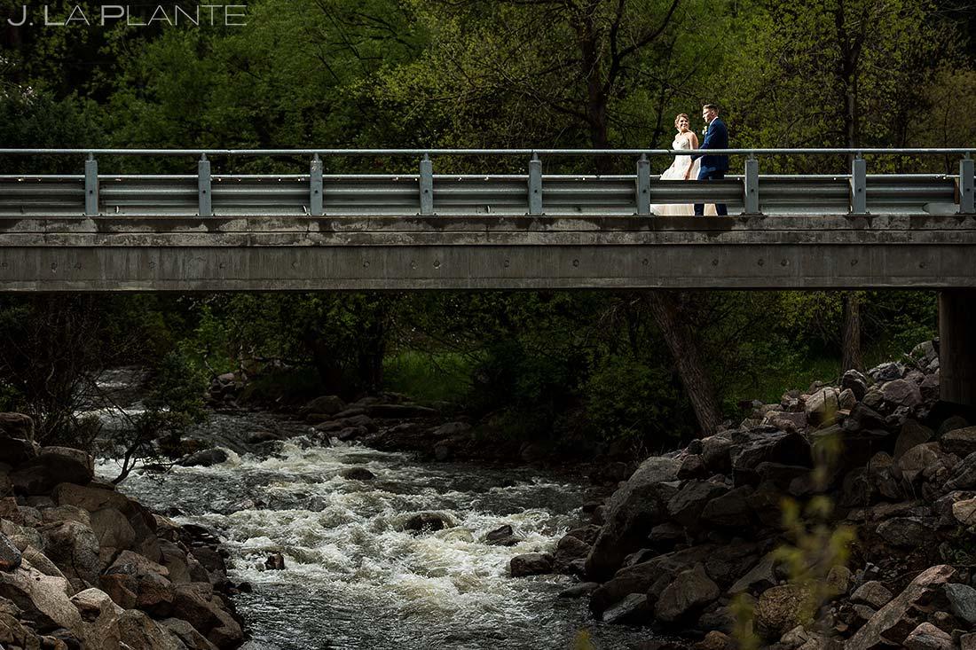 Bride and Groom on a Bridge   Wedgewood Boulder Creek Wedding   Boulder Wedding Photographer   J. La Plante Photo