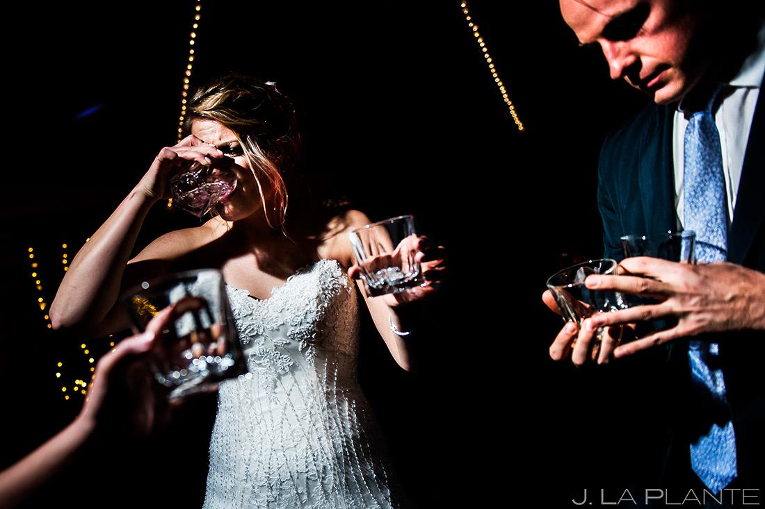 Bride Doing Tequila Shots   Wedgewood Boulder Creek Wedding   Boulder Wedding Photographer   J. La Plante Photo