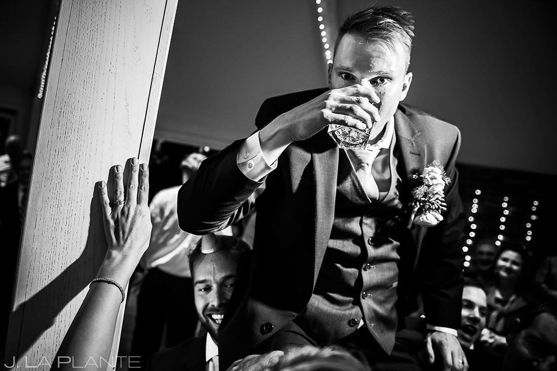 Groom Doing Tequila Shots   Wedgewood Boulder Creek Wedding   Boulder Wedding Photographer   J. La Plante Photo