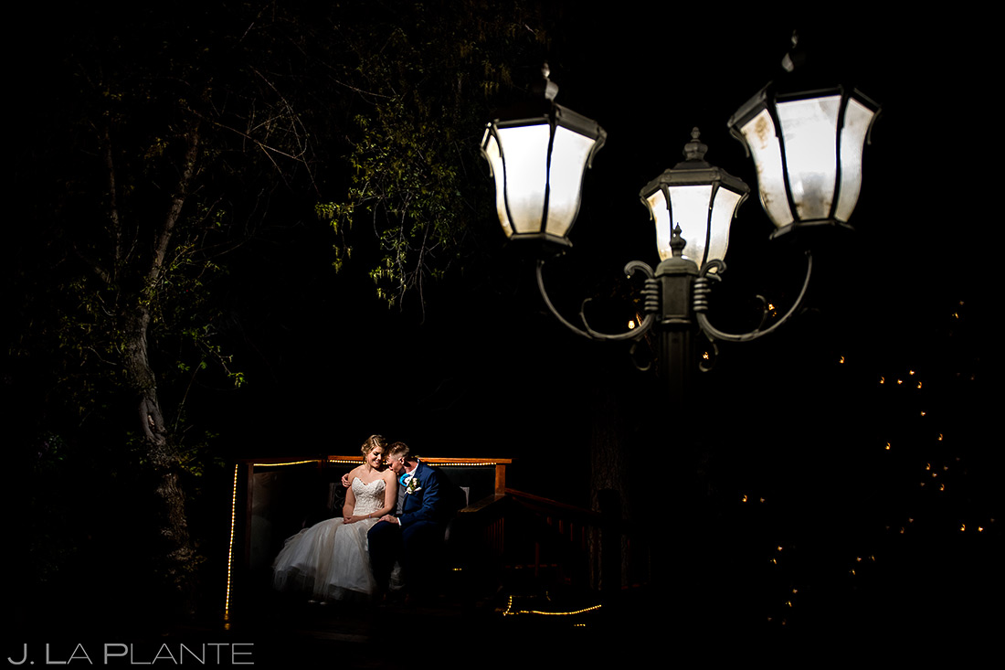 Bride and Groom Night Portrait   Wedgewood Boulder Creek Wedding   Boulder Wedding Photographer   J. La Plante Photo